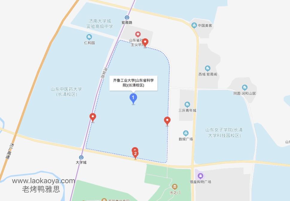 齐鲁工业大学UKVI雅思考点方位地形图